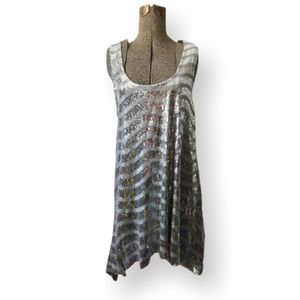 BeBe Silver Sequined Asymmetrical Dress S